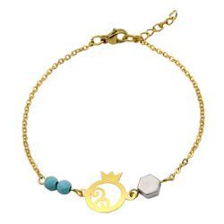 دستبند طلا 18 عیار زنانه مانچو طرح انار کد bfg182