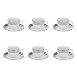 ست فنجان نعلبکی 12 پارچه چای خوری چینی زرین ایران سری ایتالیا اف مدل پالادیوم درجه عالی