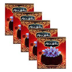 زعفران سرگل درجه یک زعیم مقدار 4.608 گرم بسته 5 عددی