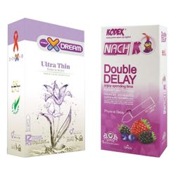 کاندوم ایکس دریم مدل بسیار نازک بسته 12 عددی به همراه کاندوم تاخیری کدکس مدل Double Delay بسته 10