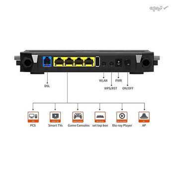 مودم روتر 4 آنتن +ADSL2 تندا مدل D305، با سیم