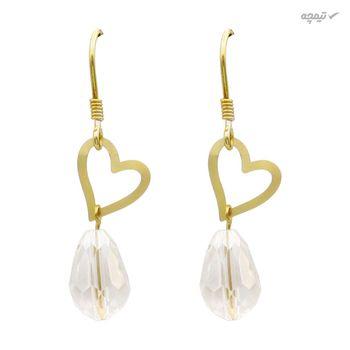 گوشواره طلا 18 عیار زنانه مانچو طرح قلب کد efgs015