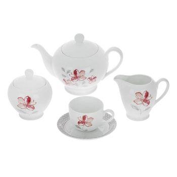 سرویس چای خوری 17 پارچه چینی زرین ایران سری ایتالیا اف مدل والنسیا ارغوانی