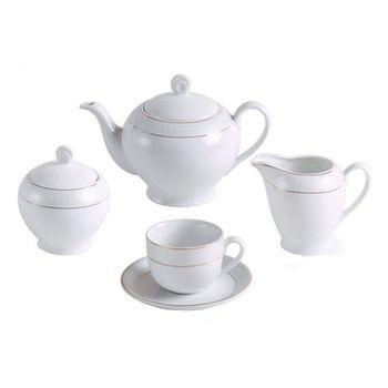 سرویس چای خوری 17 پارچه چینی زرین ایران سری ایتالیا اف مدل سپید صدف