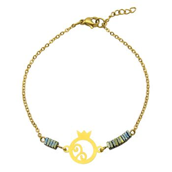 دستبند طلا 18 عیار زنانه مانچو طرح انار کد bfg180