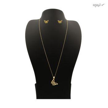 نیم ست طلا 18 عیار زنانه کاپانی طرح پروانه کد KS016