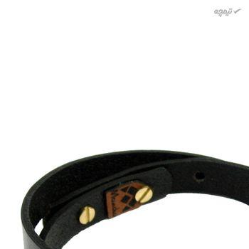 دستبند چرم و طلا 18 عیار مانچو مدل bfg068