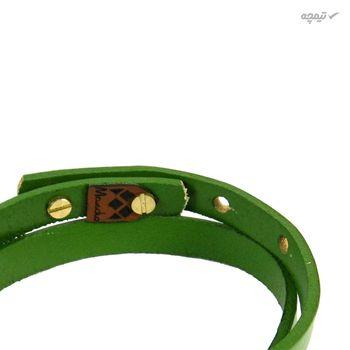 دستبند چرم و طلا 18 عیار مانچو مدل bfg071