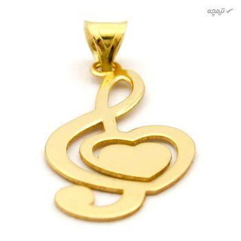 آویز گردنبند طلا 18 عیار زنانه کاپانی طرح ملودی و قلب کد KP025