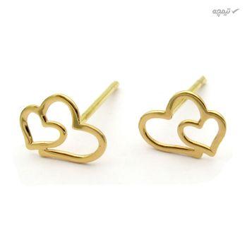 گوشواره طلا 18 عیار زنانه کاپانی طرح قلب کد KE002