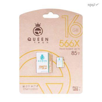 کارت حافظه microSDHC کوئین تک مدل Elite pro 566X کلاس 10 استاندارد UHS-I U1 سرعت 85MBps ظرفیت 16 گیگابایت به همراه آداپتور SD