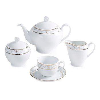 سرویس چای خوری 17 پارچه چینی زرین ایران سری ایتالیا اف مدل روما طلایی
