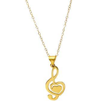 گردنبند طلا 18 عیار زنانه کاپانی طرح ملودی و قلب کد KN025