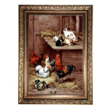 تابلو فرش ماشینی ماندگار طرح حیوانات کد 1076KC