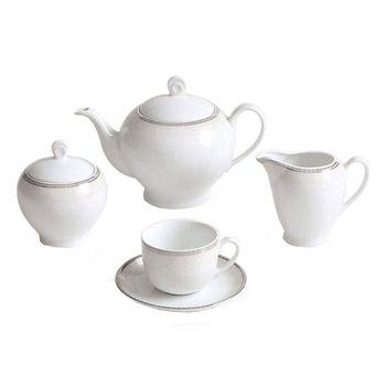 سرویس چای خوری 17 پارچه چینی زرین ایران سری ایتالیا اف مدل ریوا