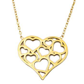 گردنبند طلا 18 عیار زنانه کاپانی طرح قلب کد KN009
