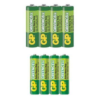 باتری قلمی و نیم قلمی جی پی مدل Green Cell بسته 8 عددی