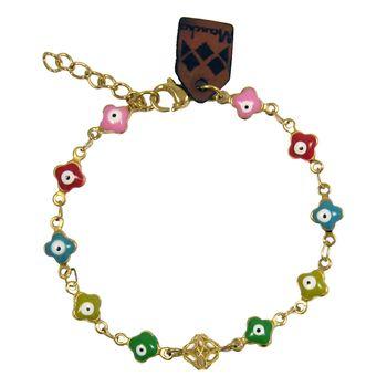 دستبند طلا 18 عیار دخترانه مانچو طرح چشم نظر کد bfg159