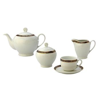 سرویس چای خوری 17 پارچه چینی زرین ایران سری ایتالیا اف مدل گیلاس