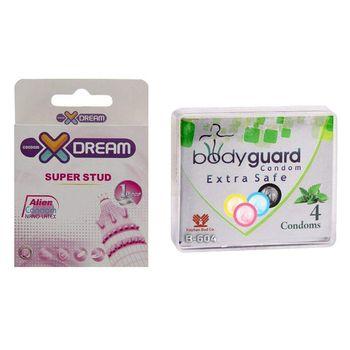 کاندوم ایکس دریم مدل Super Stud به همراه کاندوم بادی گارد مدل اکسترا سیف بسته 4 عددی
