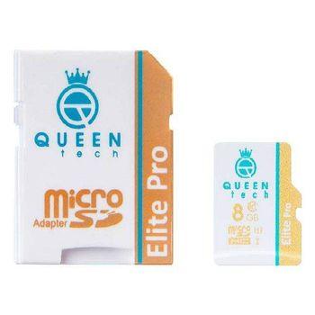کارت حافظه microSDHC کوئین تک مدل Elite pro 566X کلاس 10 استاندارد UHS-I U1 سرعت 85MBps ظرفیت 8 گیگابایت به همراه آداپتور SD