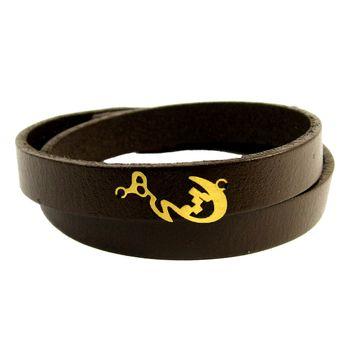 دستبند چرم و طلا 18 عیار مانچو مدل bfg072