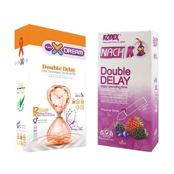 کاندوم ایکس دریم مدل Double Delay بسته 12 عددی به همراه کاندوم تاخیری کدکس مدل Double Delay بسته 10