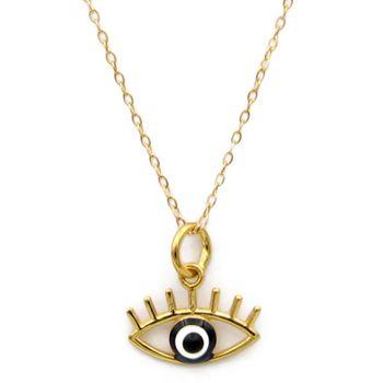 گردنبند طلا 18 عیار کاپانی طرح چشم نظر کد KN046