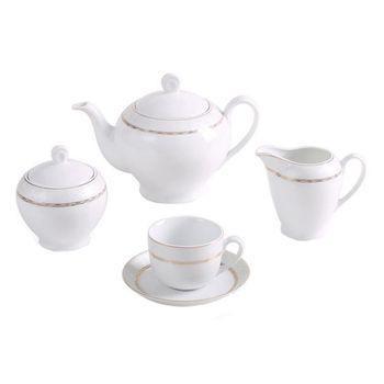 سرویس چای خوری 17 پارچه چینی زرین ایران سری ایتالیا اف مدل هدیه طلایی
