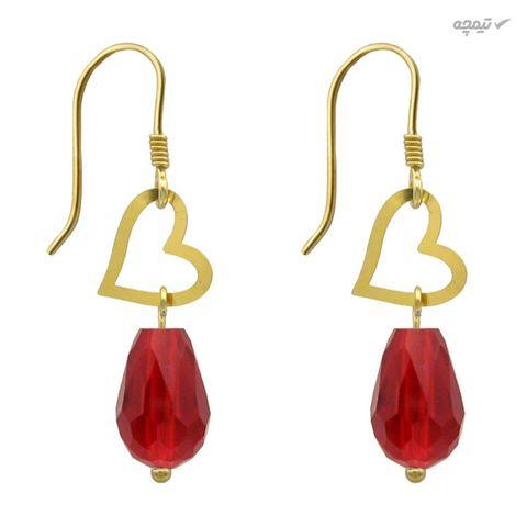 گوشواره طلا 18 عیار زنانه مانچو طرح قلب کد efgs012