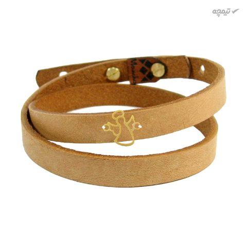 دستبند چرم و طلا 18 عیار مانچو مدل bfg077