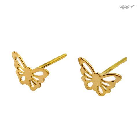 گوشواره طلا 18 عیار زنانه کاپانی طرح پروانه کد KE009