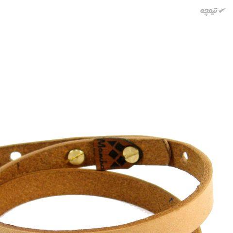 دستبند چرم و طلا 18 عیار مانچو مدل bfg070