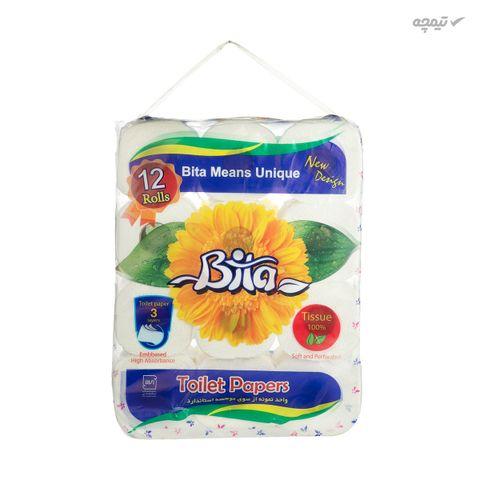 دستمال توالت بیتا مدل Flower بسته 12 عددی