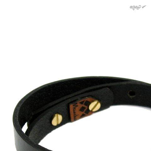 دستبند چرم و طلا 18 عیار مانچو مدل Bfg064