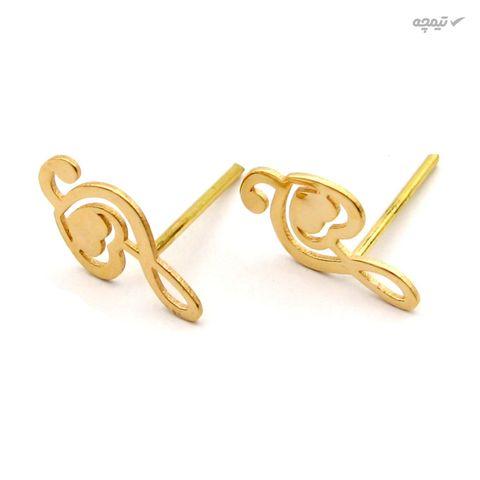 گوشواره طلا 18 عیار زنانه کاپانی طرح ملودی و قلب کد KE010