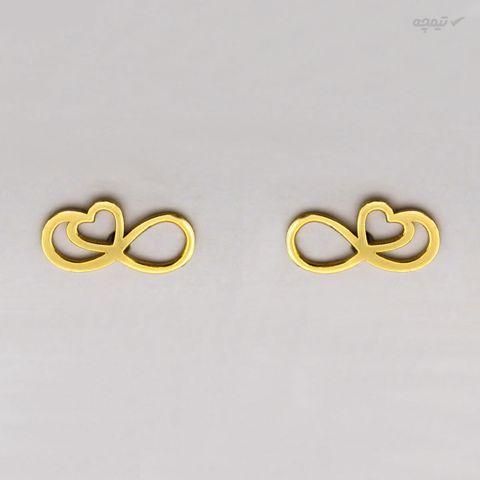 گوشواره طلا 18 عیار زنانه کاپانی طرح قلب و بی نهایت کد KE011