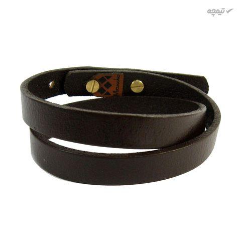 دستبند چرم و طلا 18 عیار مانچو مدل bfg074